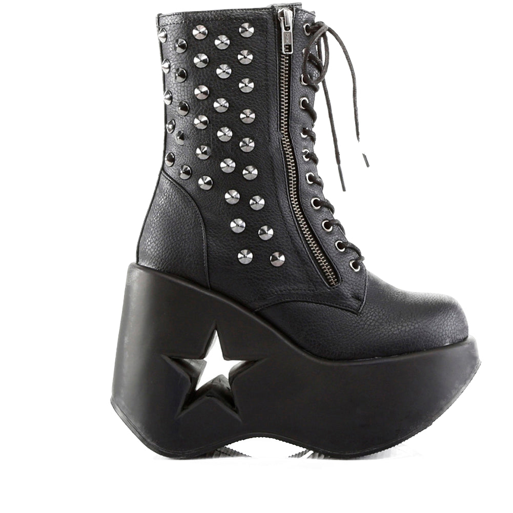 Women's Demonia Dynamite-100 Wedge Platform Ankle Boot Black