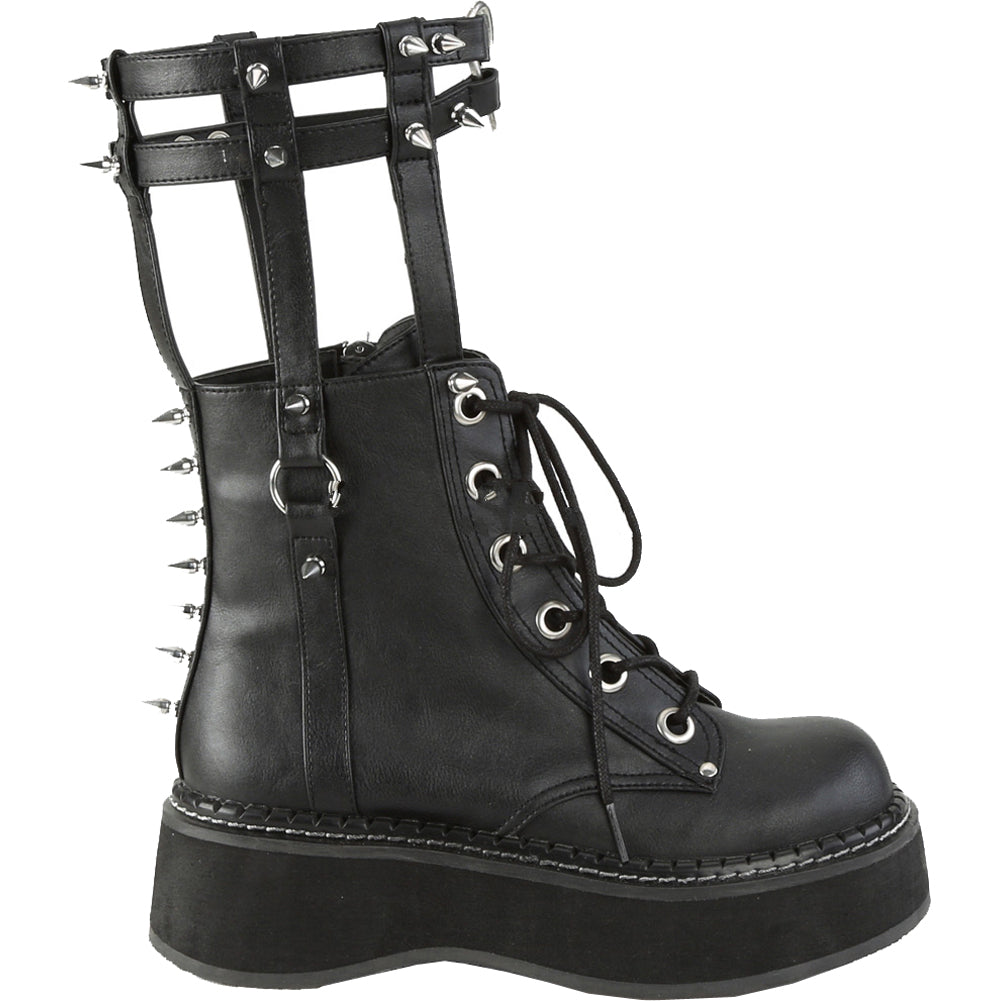 8325e1003de2 Women s Demonia EMILY-357 Cage Style Ankle Boot Black Spikes Heart Goth Punk