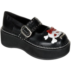 Women's Demonia Emily-221 Mary Jane Platform Shoe Black Girly Skull Punk