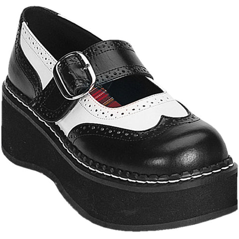 Women's Demonia Emily-302 Mary Jane Platform Oxford Shoe Black/White Rockabilly