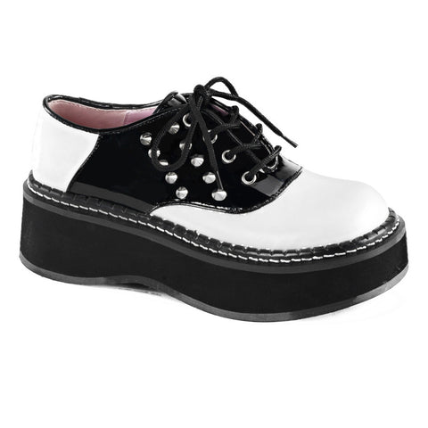 Women's Demonia Emily-303 Platform Saddle Shoe Black/White Retro Rockabilly