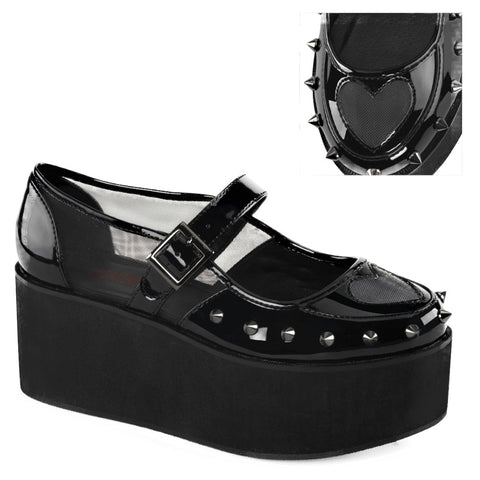 Women's Demonia GRIP-01 Black Patent Mesh Shoe Punk Goth Spikes Heart