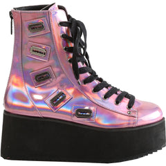 Women's Demonia GRIP-103 Platform Ankle Boot Pink Hologram Punk Razor Blades