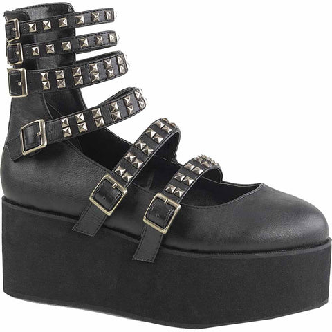 Women's Demonia GRIP-31 Platform Mary Jane Black Goth Punk Studs