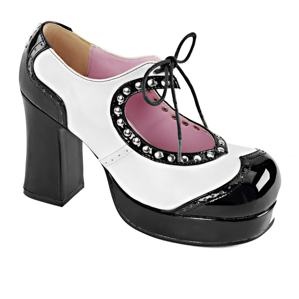 Women's Demonia Gothika-10 Two Tone Lace-Up Pump Black/White Rockabilly Retro