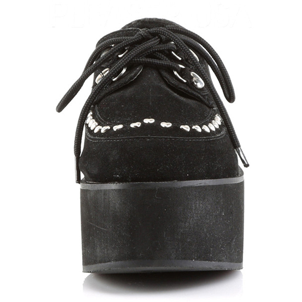 Women's Demonia Grip-03 Platform Shoe Black Punk Goth Studs
