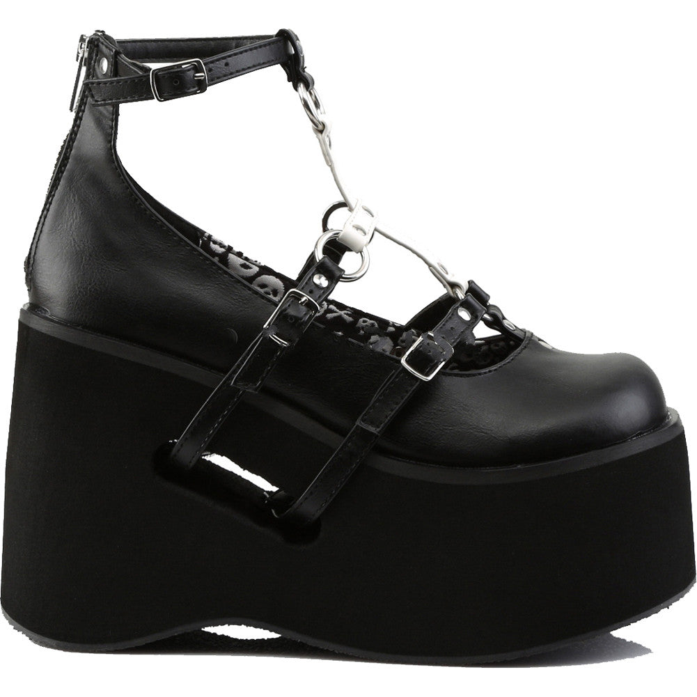 Women's Demonia KERA-09 Platform T-Strap Mary Jane Shoe Black Goth Punk Cross