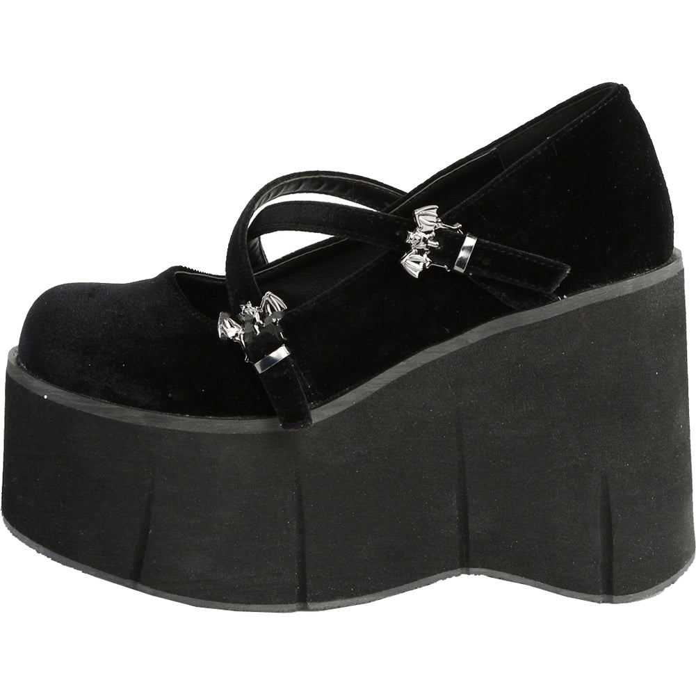 Women s Demonia KERA-10 Platform Mary Jane Shoe Black Velvet Bat Goth afdc3d703