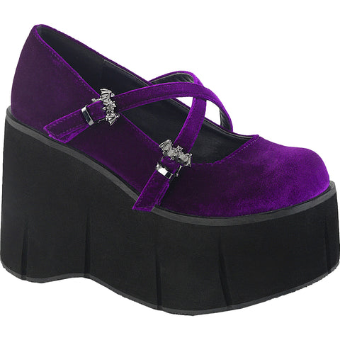 Women's Demonia KERA-10 Platform Mary Jane Shoe Purple Velvet Bat Goth