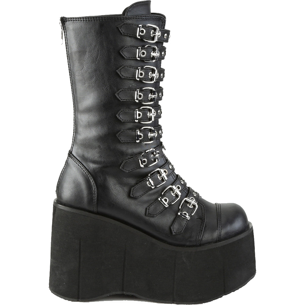 Women's Demonia Kera-50 Platform Mid-Calf Boot Black Goth Punk Studs Buckles