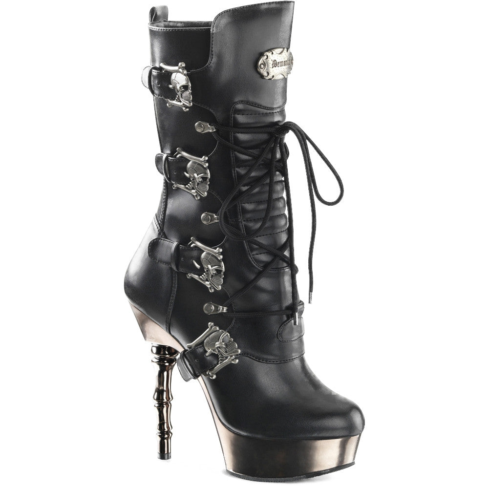 Women's Demonia Muerto-1026 Calf High Platform Boot Black Goth Punk Skulls