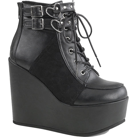 Women's Demonia Poison-105 Platform Anke Boot Black Goth Nugoth