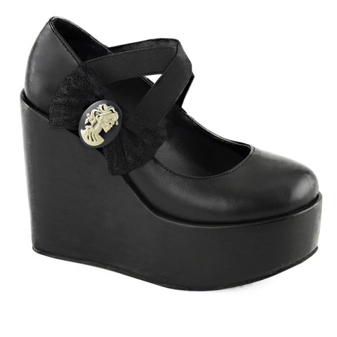 Women's Demonia Poison-02 Wedge Platform Pump Black Vegan Goth Lolita