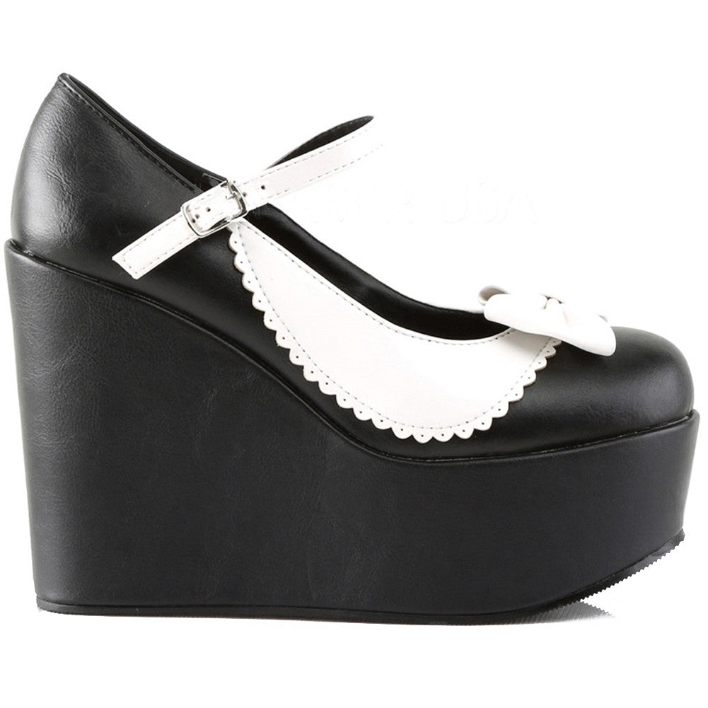 Womens Demonia Poison-04 Two Tone Mary Jane Platform Pump Black/White Rockabilly