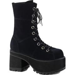 Women's Demonia RANGER-301 Block Heel Calf Boot Black Velvet Goth Punk