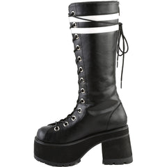 Women's Demonia RANGER-320 Platform Knee High Boot Black Goth Punk Stripes