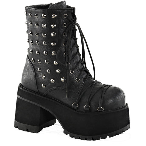 Women's Demonia Ranger-208 Platform Ankle Boot Black Punk Goth Studs