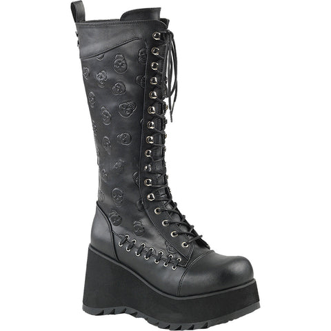 Women's Demonia SCENE-107 Platform Knee Boot Black Punk Goth Skulls
