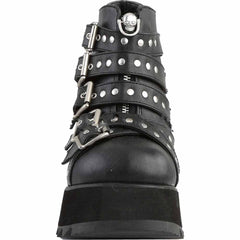Women's Demonia SCENE-30 Platform Studded Ankle Boot Black Goth Studs Punk