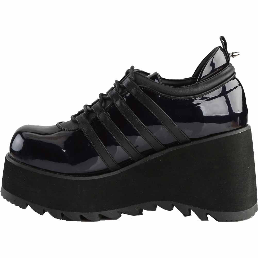 Women's Demonia SCENE-31 Wedge Platform Shoe Black Hologram Goth Punk