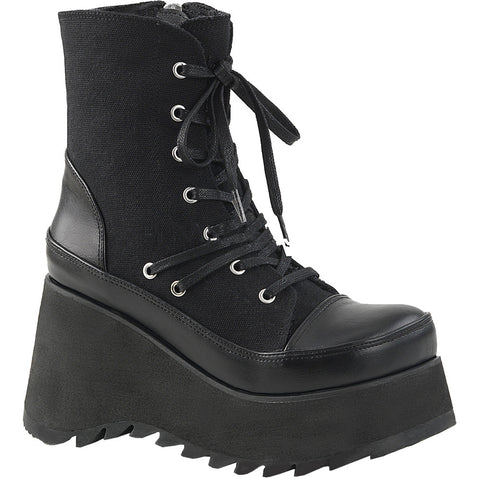 Women's Demonia SCENE-50 Platform Ankle Boot Black Goth Punk