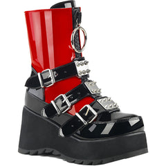 Women's Demonia SCENE-51 Platform Mid-Calf Boot Black/Red Goth Punk