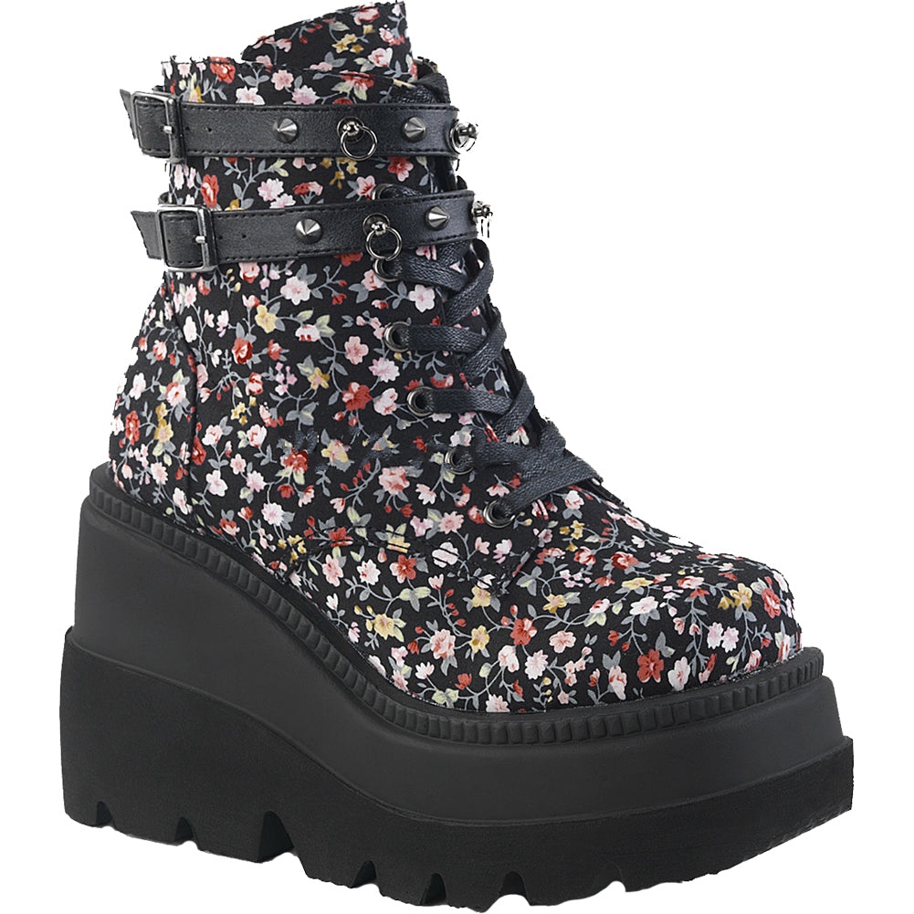 Women's Demonia SHAKER-52ST Wedge Platform Ankle Boot Black Floral Spikes