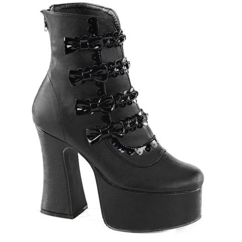 Women's Demonia SLUSH-60 Platform Ankle Boot Black Punk Goth