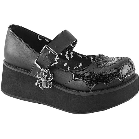 Women's Demonia SPRITE-05 Mary Jane Platfrom Shoe Black Goth Punk Spider Web
