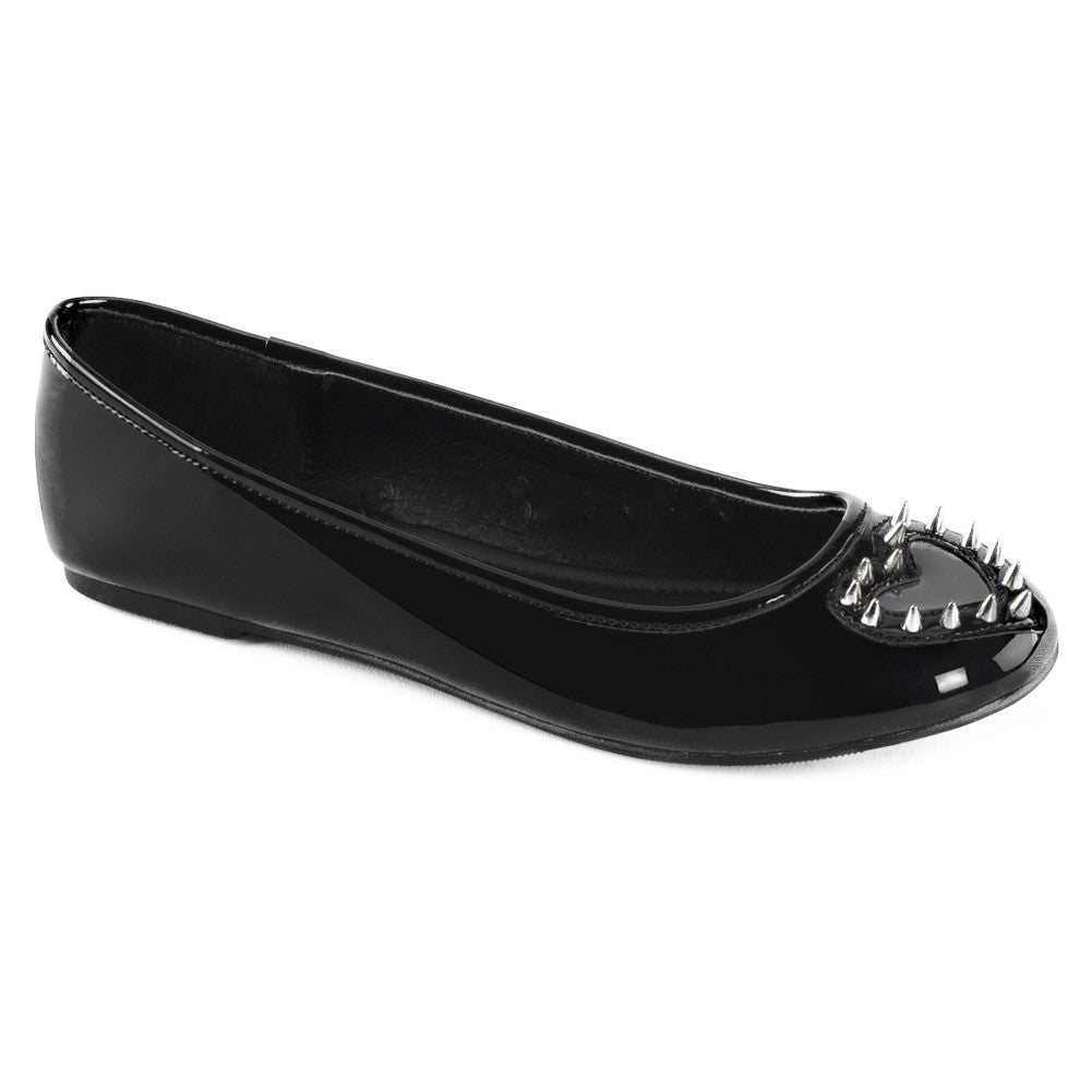 Women's Demonia STAR-24 Round Toe Flat Black Patent Leather Spiked Heart Punk