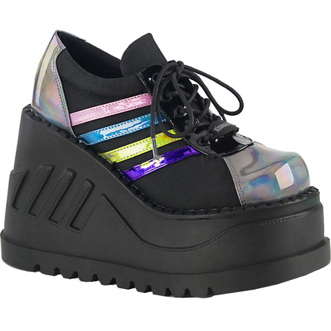 Women's Demonia STOMP-08 Wedge Platform Shoe Black/Pewter Goth Rainbow Hologram