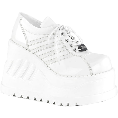 Women's Demonia STOMP-08 Wedge Platform Shoe/White Goth Pastel Goth