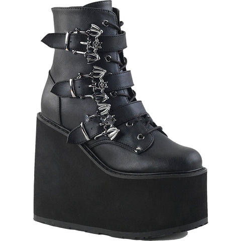 Women's Demonia SWING-103 Platform Ankle Boot Black Bats Goth Punk