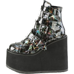 Women's Demonia SWING-105LBH Platform Ankle Boot Black Lightning Goth Festival