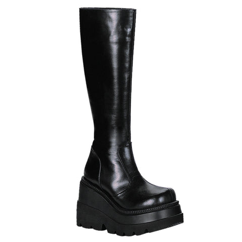 Women's Demonia Shaker-100 Knee Boot Black Goth Punk