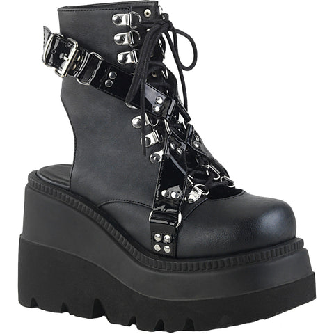 Womens Demonia Shaker-56 Wedge Platform Ankle Boot Black Studs Harness Goth Punk