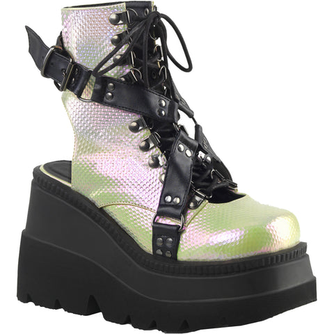 Women's Demonia Shaker-56 Wedge Platform Ankle Boot Green/Black Studs Harness