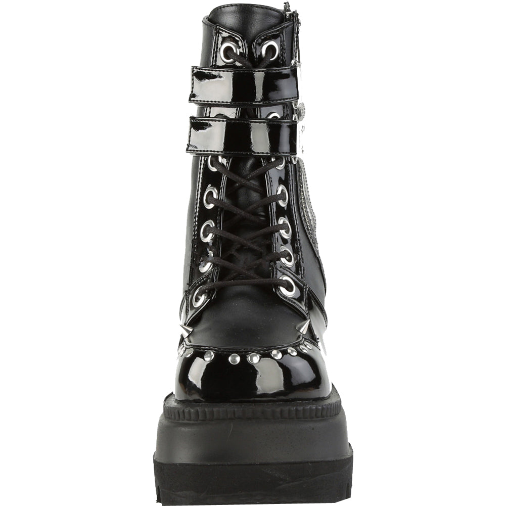 Women's Demonia Shaker-57 Platform Lace-Up Angke Boot Black Goth Punk