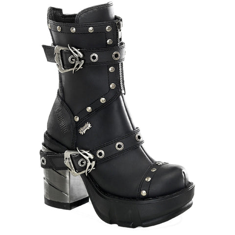 Women's Demonia Sinister-201 Platform Boot Black Goth Punk Buckles Studded