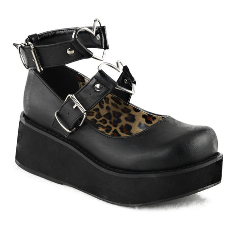 Women's Demonia Sprite-02 Platform Mary Jane Shoe Black Goth Punk Hearts