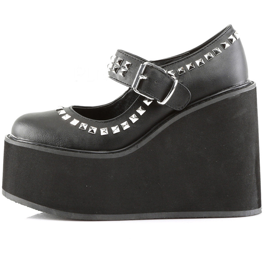 Women's Demonia Swing-03 Wedge Platform Mary Jane Shoe Vegan Leather Goth Punk