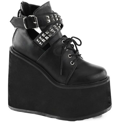 Women's Demonia Swing-05 Wedge Platform Lace-Up Ankle Bootie Black Vegan Leather