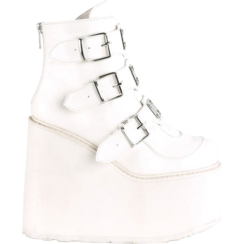 Women's Demonia Swing-105 Platform Ankle Boot White Goth Studded Metal Plates