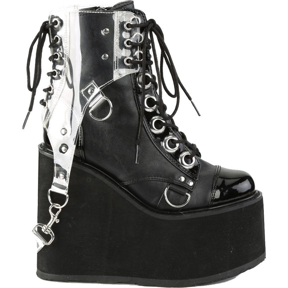Women's Demonia Swing-115 Platform Clear Harness Ankle Boot Black Goth