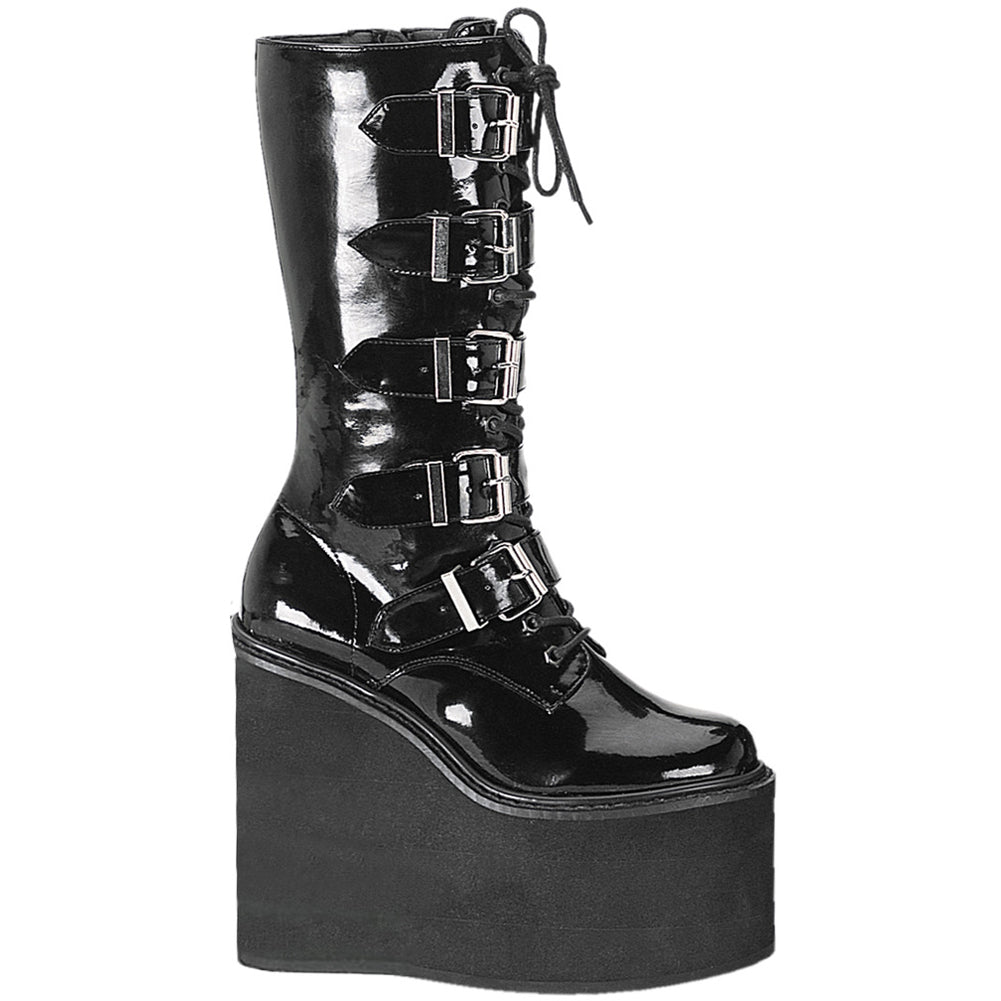 Women's Demonia Swing-220 Platform Calf Boot Black Patent