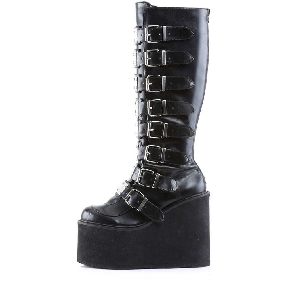 Women's Demonia Swing-815 Platform Knee Boot Black