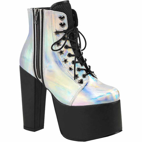Women's Demonia TORMENT-712 Platform Ankle Boot Silver Pastel Goth