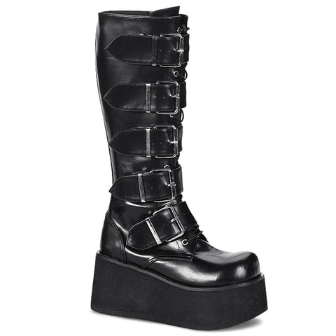 Men's Demonia Trashville-518 Platform Knee Boot Black Goth Punk Buckles