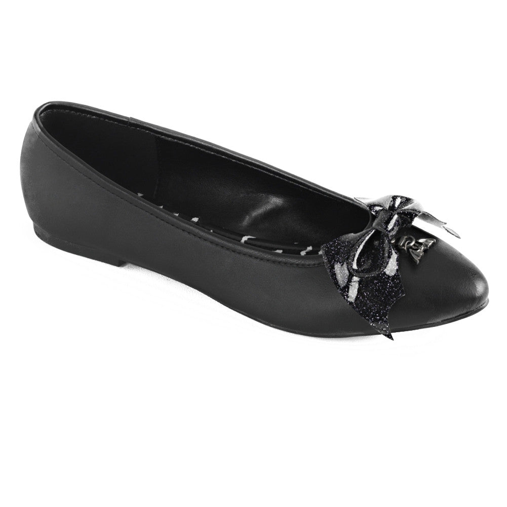Women's Demonia VAIL-01 Black Leather Flat Bat Wing and Charm Punk Goth