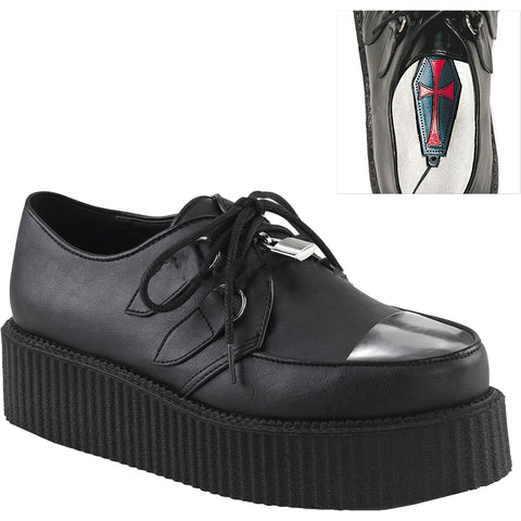 Unisex Demonia V-CREEPER-515 Platform Oxford Creeper Black Goth Punk Rockabilly